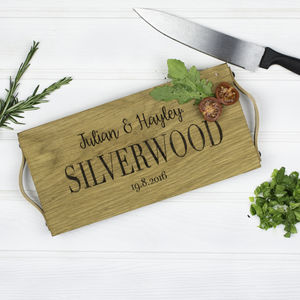 Personalised Solid Oak And Leather Chopping Board - kitchen
