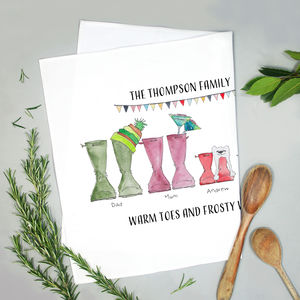 Personalised Welly Boot Family Tea Towel - kitchen accessories