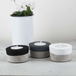Set Of Three Colour Block Concrete Tea Light Holders - dining room