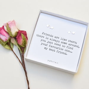 'Friends are like stars' Silver Earrings Boxed Gift