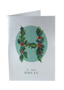 Silver Christmas Cards Holly Twine Tied Pack Of Six - cards