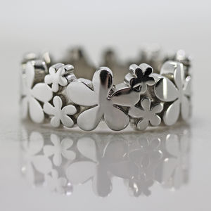 White Gold Daisy Ring - rings