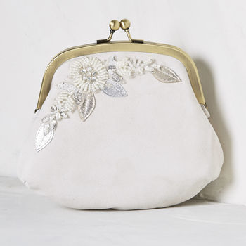 Harriet Ivory Suede Embellished Clutch Bag