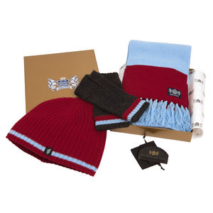 Luxury Cashmere Football Gift Sets In Claret And Blue - hats