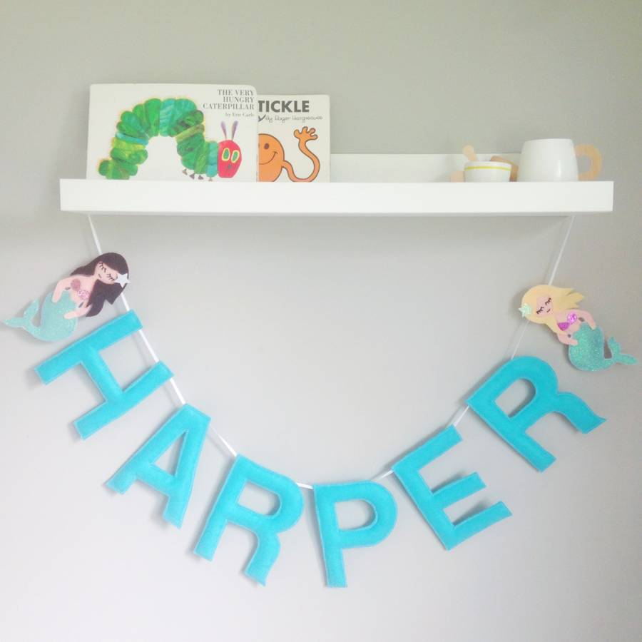 Personalised Felt Mermaid Name Garland