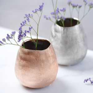 Metallic Rose Gold Or Silver Metal Vase - table decorations