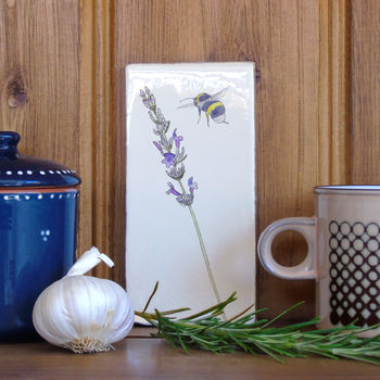 Lavender And Bee Ceramic Wall Art Tile