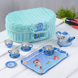 Blue Tin Tea Set For Boys And Girls - traditional toys & games