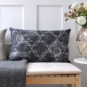 Long Geometric Rose Cushion - cushions