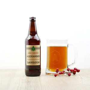 Christmas Real Ale, Personalised With Engraved Tankard