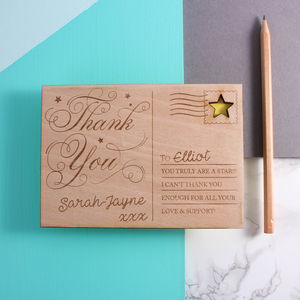 Personalised Wooden 'Thank You' Post Card - thank you cards