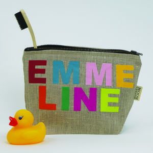 Personalised Linen Washbag