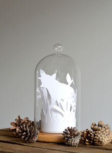 Paper Cut Layered Fox And Cub Scene Glass Dome Bell Jar