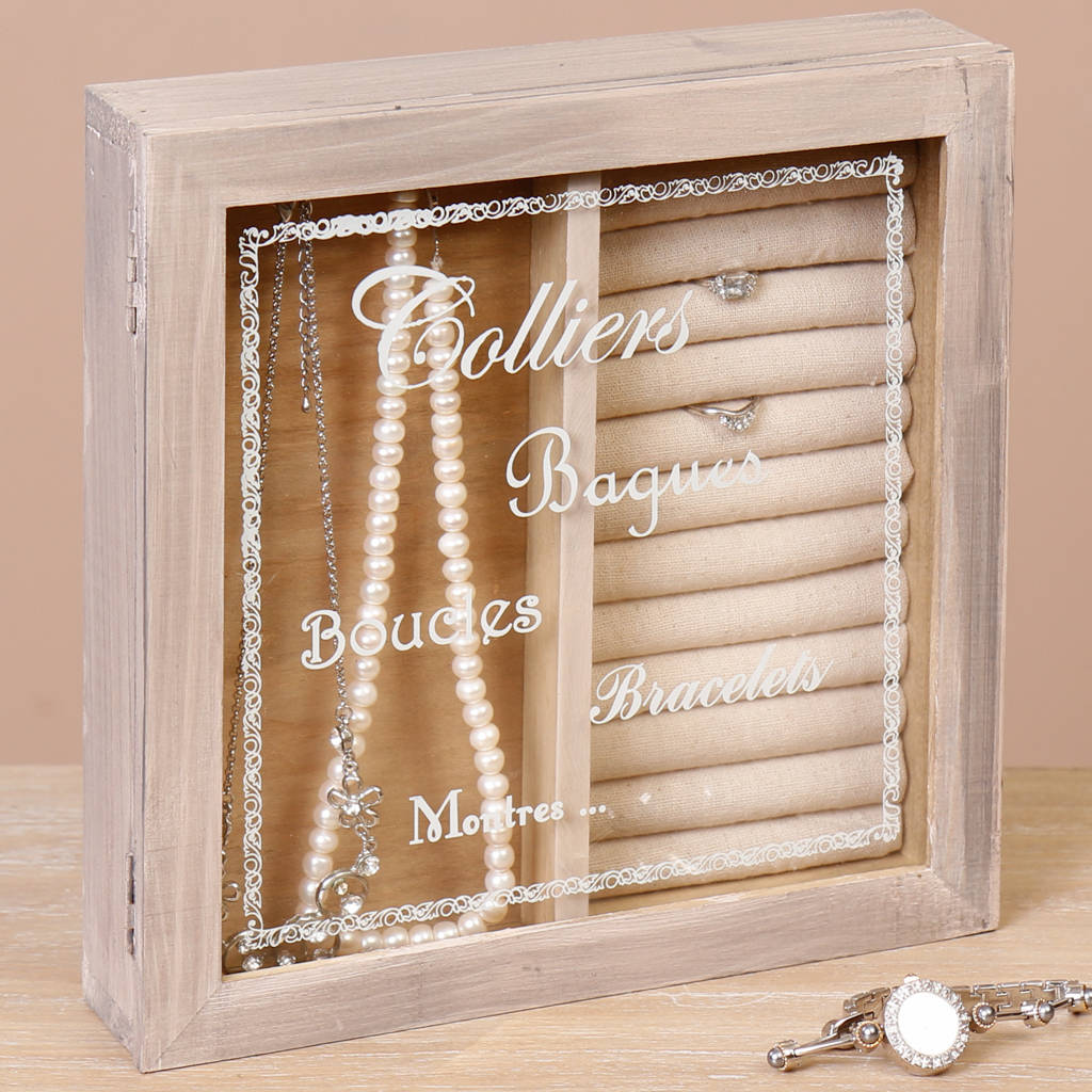 French Vintage Glass Topped Jewellery Box Gift