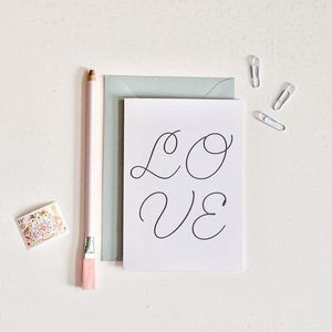 Pink Cursive Love Card