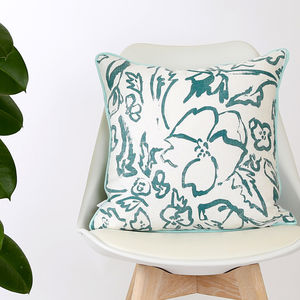 Screen Printed Wildflower Teal Cushion - bedroom