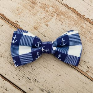 The Anglesey Blue White Checked Nautical Anchor Dog Bow - dogs