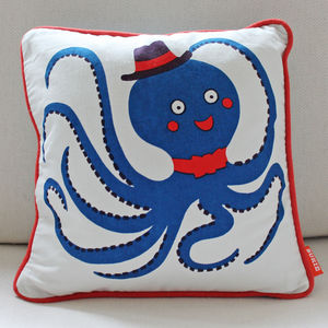 Octopus Print Cotton Cushion