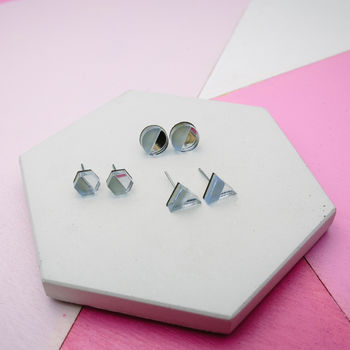 Blue Geometric Stud Earrings