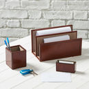 Personalised Oxford Leather Desk Set
