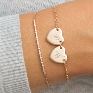 Personalised Initial Double Heart Bracelet - new in jewellery