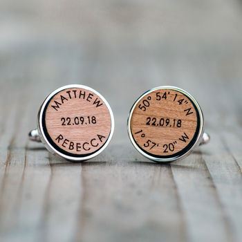 Personalised Names, Date And Coordinates Wood Cufflinks