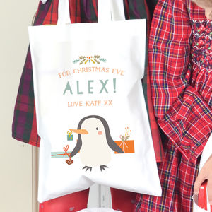 Personalised Children's Christmas Bag 'Penguin'