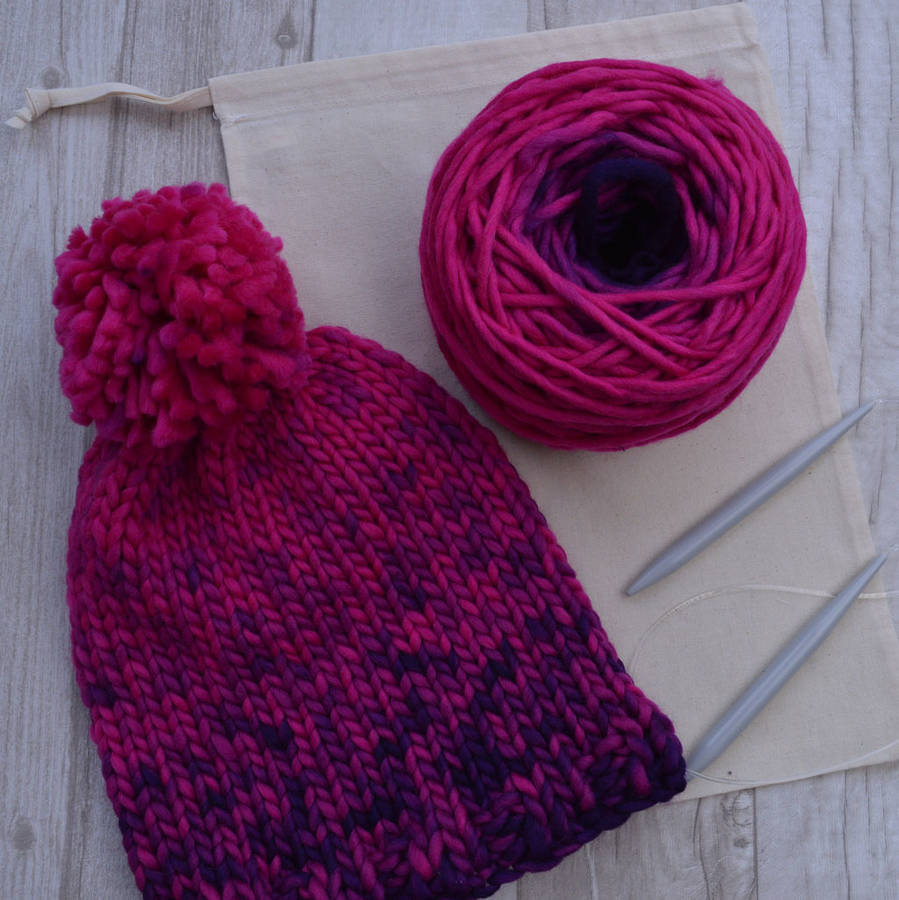 knit your own merino wool bobble hat kit by fibrespace notonthehighstreet.com