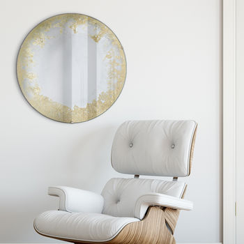 Gilded Gold Rim Antiqued Round Mirror