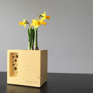 Yellow Beepot Mini Bee Hotel And Planter Garden Gift - gardener