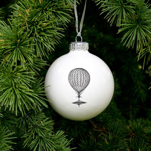 Bauble With Vinage Balloon - tree decorations