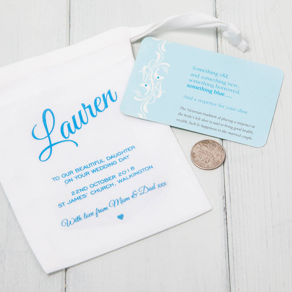 Lucky Sixpence For Bride With Personalised Gift Bag By British And