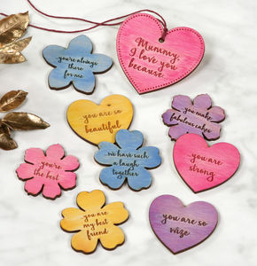 Personalised Hearts And Flowers I Love You Tokens