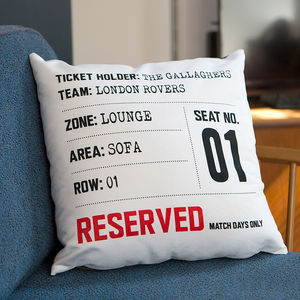 Match Day Seat Reservation Personalised Cushion - valentine's gifts for him