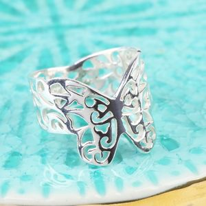 Sterling Silver Filigree Butterfly Ring - rings