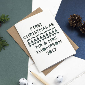 First Christmas As 'Mr And Mrs' Papercut Card