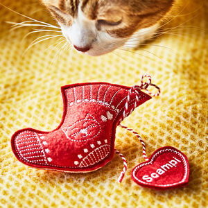 Personalised Handmade Catnip Toy Stocking, Cat Toys