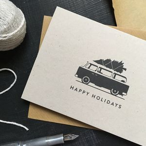 'Happy Holidays' Campervan Christmas Card