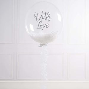 Personalised White Serenity Feather Filled Balloon