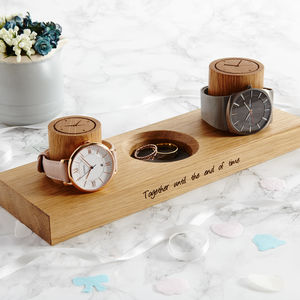 Couples Watch Stand With Ring Dish - watch storage