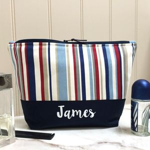 Personalised Multi Striped Wash Bag