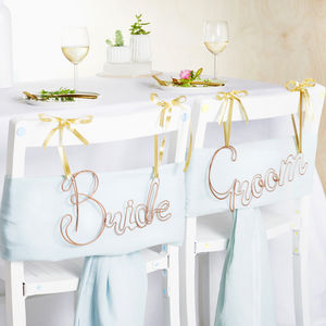 Copper Bride And Groom Wire Chair Backs - room decorations