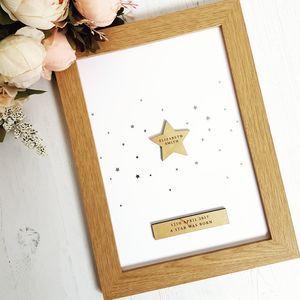 Children Silver Star Personalised Print - new baby gifts