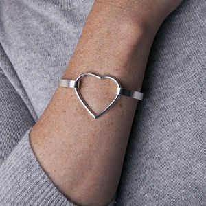 Eternally Yours Silver Heart Pressure Bangle - bracelets & bangles