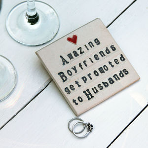Boyfriend To Husband Ceramic Coaster Engagement Gift - gifts for him