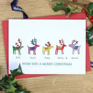 Personalised Rainbow Reindeer Family Christmas Cards - personalised