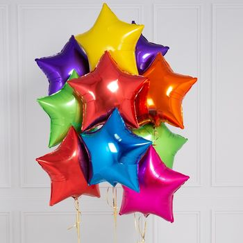Inflated 10 Rainbow Bright Star Foil Balloons