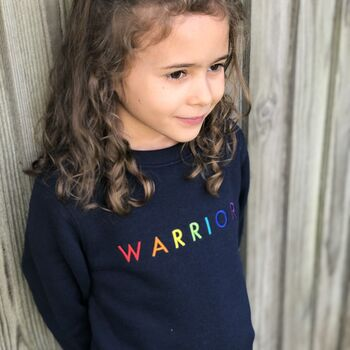 'Warrior' Embroidered Children's Organic Sweatshirt