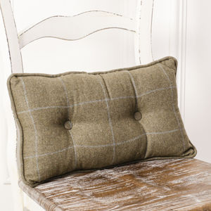 Gents Racing Green Tartan Cushion - cushions