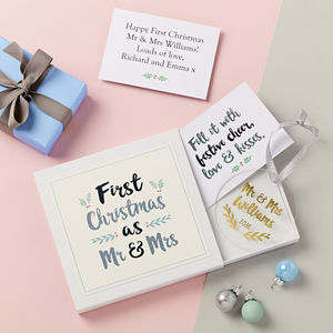 Mr And Mrs First Christmas Decoration Gift Set - tree decorations